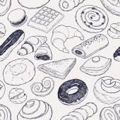 "Постер, картина, фотообои ""Bakery products seamless pattern"""