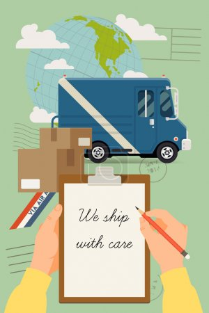 Ilustración de Vector modern creative flat style concept design on worldwide delivery service featuring globe, cardboard boxes, cargo truck and human hands holding clipboard with sample text on paper and pencil - Imagen libre de derechos