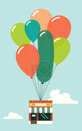 Small shop with balloons flying.