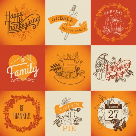Illustration for Vector collection of nine thanksgiving decoration elements. Happy thanksgiving lettering items. Thanksgiving printable items with calendar, horn of plenty and autumn leaves - Royalty Free Image