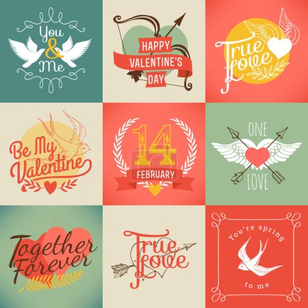 Illustration pour Vector modern badges and labels on valentines day. Set of nine love and relationship related design items - image libre de droit