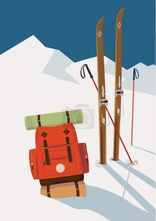Winter skis in mountains