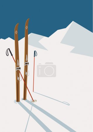 Wooden skis and poles in snow