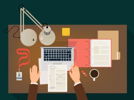 Illustration pour Bureau de travail design plat vectoriel moderne avec mains, documents en papier, lampe de table, ordinateur portable et plus encore. Vue de dessus. Conception conceptuelle sur papier - image libre de droit