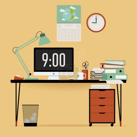 Illustration for Vector modern creative flat design office work desk with stationery, table lamp, personal computer with current time on screen, piles of papers, wall clock and more - Royalty Free Image