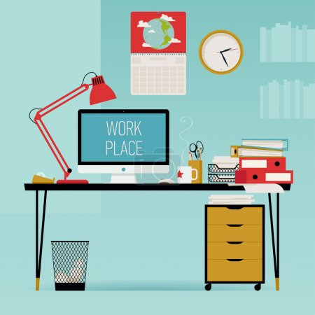 Illustration for Vector modern creative flat design office work desk with stationery, table lamp, personal computer, piles of papers, wall clock and more - Royalty Free Image