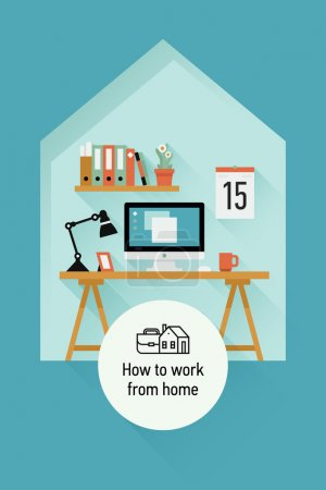 Illustration for Vector modern flat design creative concept design on working at home featuring work space interior with contemporary table, personal computer, book shelf, work lamp and more. Grey background - Royalty Free Image