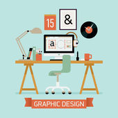 Vector modern flat concept design on graphic designer workplace interior featuring desktop computer work lamp chair stationery designer clock and more