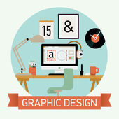 Vector modern flat concept design circle icon on graphic design featuring designer workplace interior with desktop computer work lamp stationery designer clock and more