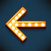 Vector realistic 3d volumetric icon on marquee sign short arrow looking left lit up with electric bulbs Retro looking presentation design element pointer glowing with lamps