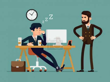 Illustration for Vector modern creative flat design illustration on tired businessman at work. Exhausted office worker sleeping behind his desk while angry director is standing next - Royalty Free Image