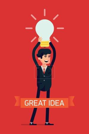 Businessman holding idea light bulb