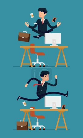 Illustration for Vector set of flat modern business office worker character design depicting levitating businessman meditating in peace over his desk and hurdling businessman jumping over his table - Royalty Free Image