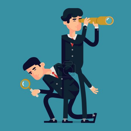 Illustration for Vector modern flat design abstract business character illustration on search in business strategy and industry with men using spyglass and looking glass. Searching high and low concept illustration - Royalty Free Image