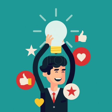 Illustration for Vector modern flat design concept creative web banner on great idea and brainstorming in business with businessman holding idea light bulb above his head, laughing happy - Royalty Free Image