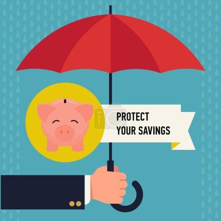 Illustration pour Protégez vos économies avec un parapluie. Protection commerciale de la petite tirelire rose - image libre de droit