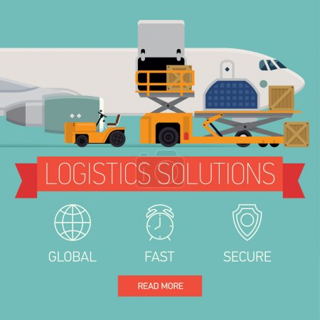 Ilustración de Vector promotional web banner template on logistics solutions and shipping company featuring freight cargo jet airplane loading, airport service vehicles and various containers, flat design - Imagen libre de derechos