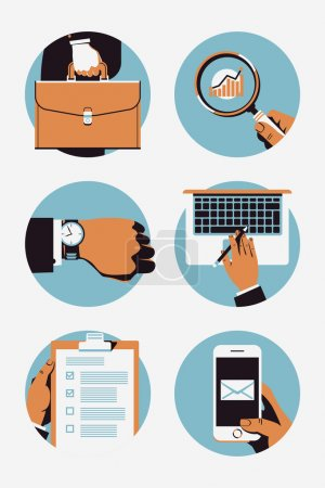Illustration pour Vector circle business web icons on office worker man hand holding briefcase, magnifying glass, wrist watch, laptop, clipboard. Time management, stats monitoring, communication and computing icons - image libre de droit
