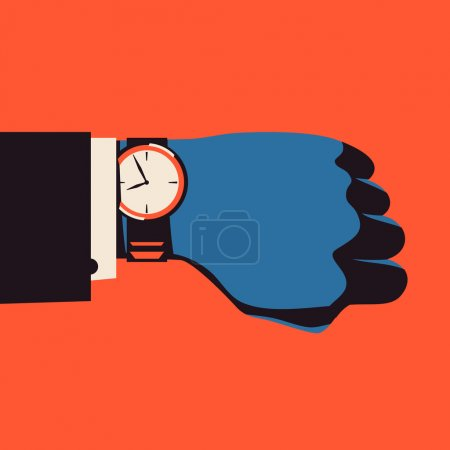 Hand with wrist watch.