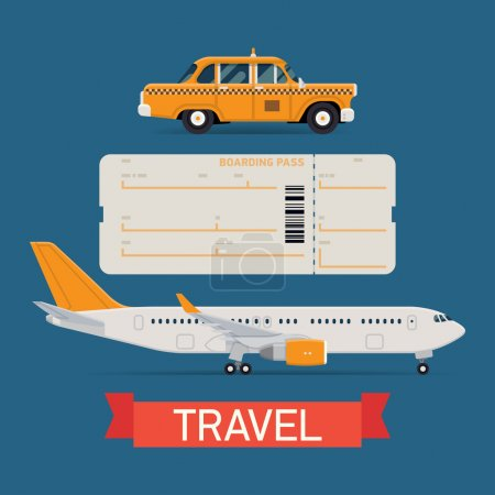 Illustration for Vector set on travel flat design transportation icons featuring passenger jet airliner, boarding pass airfare ticket blank and city yellow cab taxi vehicle - Royalty Free Image
