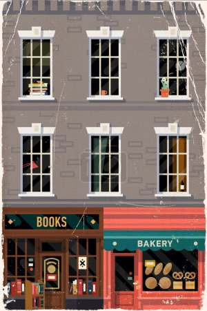 Retro bookshop and bakery