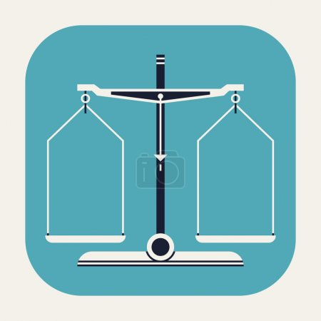 Illustration for Vector cool modern flat design rounded corners application icon on balance scales measurement tool, isolated - Royalty Free Image