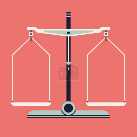 Illustration for Vector cool modern flat design web icon on balance scales measurement tool, isolated - Royalty Free Image