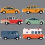 Vector set of various city urban traffic vehicles ...