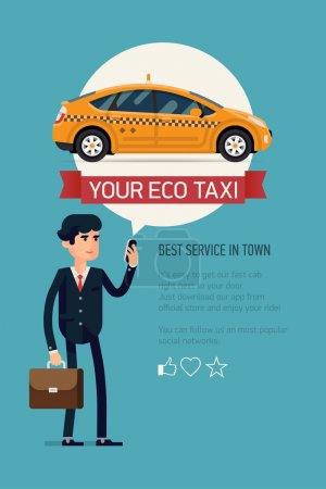 Illustration for Vector modern flat creative concept vertical banner design on business taxi service application featuring yellow modern hybrid eco taxi cab . Male businessman calling taxi with his mobile phone - Royalty Free Image