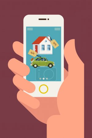Illustration for Vector modern flat concept web banner design on hand holding mobile phone with realty and car sales marketplace application featuring house and small classic city car icons with price tags - Royalty Free Image