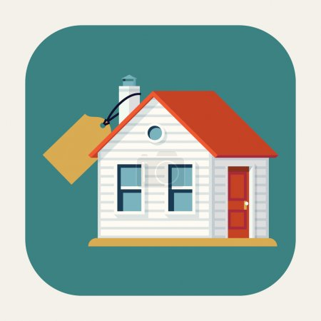 Illustration for Vector modern flat design round corners icon on realty sales and real estate business featuring classic small house building with abstract price tags. Real estate market application icon - Royalty Free Image