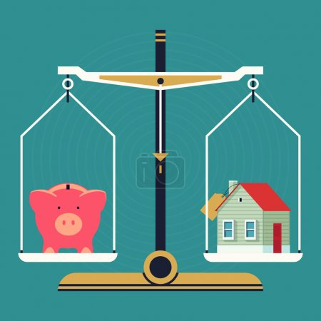 Illustration for Vector modern creative flat concept design on residential property pricing and cost analyzing. Real estate investment costs and budget consumption with scales, piggy bank and house icons - Royalty Free Image