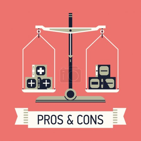 Illustration for Vector modern creative flat concept design on choice and decision making with positive and negative arguments. Abstract illustration on pros and cons with balance scales and ribbon with sample title - Royalty Free Image