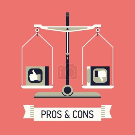 Illustration for Vector modern creative flat concept design on decision making process with like and dislike analyzing. Abstract illustration on pros and cons with balance scales and ribbon with sample title - Royalty Free Image