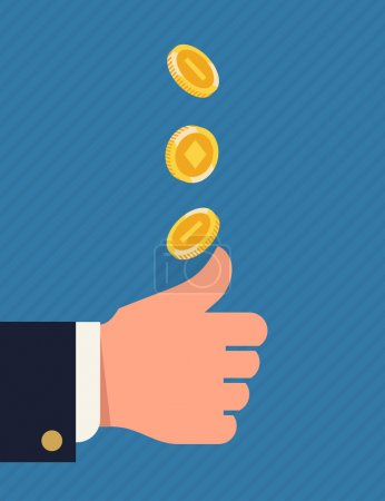 Illustration for Vector flat concept image on decision making by chance with coin. Two alternatives choosing process with heads or tails coin tossing and flipping featuring abstract businessman's hand and golden coin - Royalty Free Image