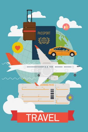 Illustration for Vector cool flat design web banner on airline tickets and travel with jet airliner flying, taxi, hand luggage, passport, boarding pass ticket and globe with clouds. Airfare booking printable poster - Royalty Free Image