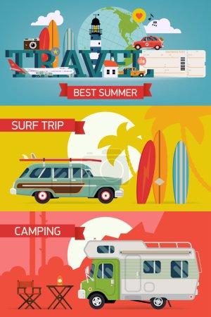 Illustration pour Vector cool plate plate bannières web horizontales sur les meilleures vacances d'été, loisirs de plage, surf, vue, camping, tourisme aérien pour la promotion des agences de voyage et le marketing numérique - image libre de droit