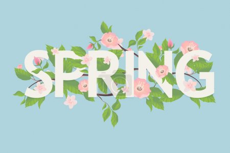 Illustration for Beautiful vector modern lettering on spring season decorated with young leaves and blossom flowers. Ideal for greeting cards, stickers and posters - Royalty Free Image