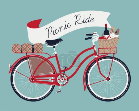 Vector retro poster on picnic ride with vintage bi...