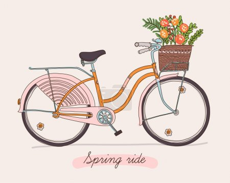 Illustration for Cute vector retro bicycle for ladies with basket full of spring flowers. Hand drawn vintage fashionable design on spring season ride. Ideal for scrap booking, post cards and wall decoration - Royalty Free Image