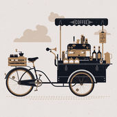 Creative detailed vector street coffee bicycle cart three colored design element with espresso machine syrup bottles wooden crate on rear rack disposable cups and more Subtle rough paper texture