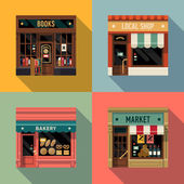 Small business icons with store facades