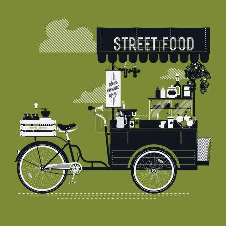 Illustration pour Conception graphique créative vectorielle détaillée sur la nourriture de rue avec chariot de vélo à l'aspect rétro avec auvent, rafraîchissements, bols, bouteilles, caisse en bois sur le support arrière et plus encore. Illustration de café mobile - image libre de droit