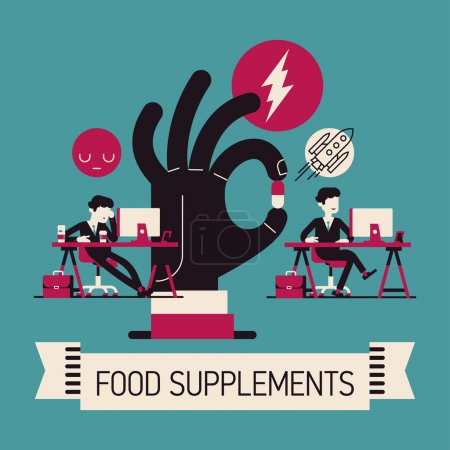 Illustration for Vector creative concept design on food supplements effect for office work, brain health, concentration and productivity featuring office worker before and after vitamin treatment - Royalty Free Image
