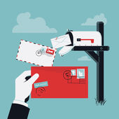 Cool creative vector concept design on incoming correspondence and mail delivery with curbside mailbox on pole and abstract postman hand holding red envelope with stamps