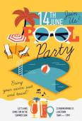 Creative modern flat design invitation on pool party with P letter shaped swimming pool parasol umbrella beach chairs and sample text
