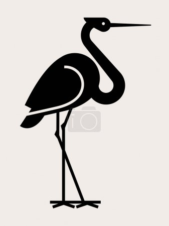 stork bird black silhouette.