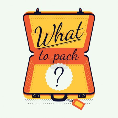 Illustration for What to pack creative vector illustration. Travel preparation and packing, tips and advices concept illustration with opened empty luggage suitcase and sample title - Royalty Free Image