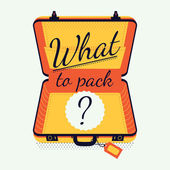 What to pack creative vector illustration Travel preparation and packing tips and advices concept illustration with opened empty luggage suitcase and sample title
