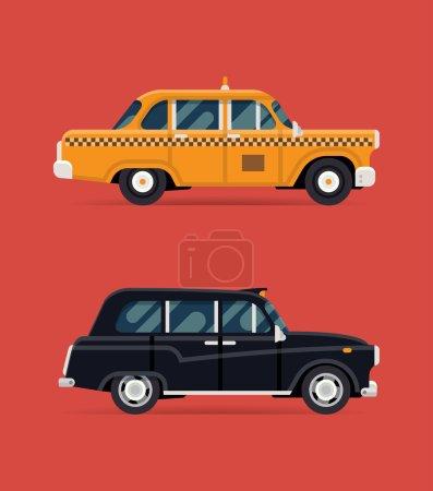 Illustration pour Illustration de design plat moderne vectoriel cool sur taxi taxi rétro et voiture de taxi noir hackney chariot. Londres et New York transports en commun taxi véhicules de service - image libre de droit